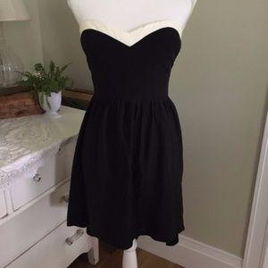 Parker Black & White Strapless High Low Silk Dress